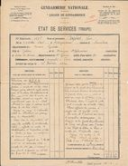 GENDARMERIE NATIONALE - LEGION DE GENDARMERIE -2 Docs. ETAT DE SERVICE (médaille ) CAZE... Né En 1906 à BURGARONNE (64) - Police & Gendarmerie
