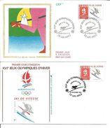 Jeux Olympiques   1991  Ski De Vitesse Les Arts Avec Feuille Explicative - 1990-1999