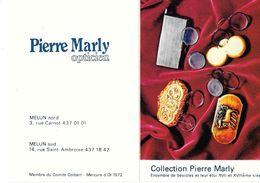 CALENDRIER 1981 - PIERRE MARLY -OPTICIEN - ENSEMBLE DE BESICLES XVII Et XVIIIe   (ouvert 10.5 X 14.5) - Petit Format : 1981-90
