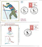 Jeux Olympiques   1991 Ski De Fond Les Saisies Avec Feuille Explicative - 1990-1999