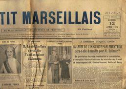 ** JOURNAL ** LE PETIT MARSEILLAIS ** 2ème ÉDITION DU ** JEUDI 12 AVRIL 1934 ** - Le Petit Marseillais