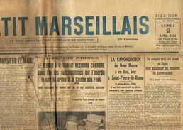 ** JOURNAL ** LE PETIT MARSEILLAIS ** 2ème ÉDITION DU ** LUNDI 02 AVRIL 1934 ** - Le Petit Marseillais