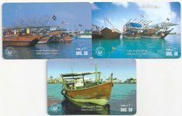 UAE - 3 Boats In Ports Remotes, All Used - United Arab Emirates