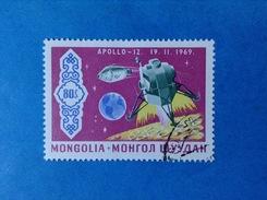 MONGOLIA FRANCOBOLLO USATO STAMP USED SPAZIO APOLLO 12 - Space