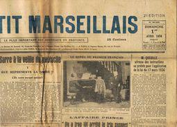 ** JOURNAL ** LE PETIT MARSEILLAIS ** 2ème ÉDITION DU ** DIMANCHE 1er AVRIL 1934 ** - Le Petit Marseillais