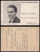 MILANO ANNI 40 - CASA EDITRICE ALPES - CEDOLA DI COMMISSIONE LIBRARIA - APPELIUS - Negozi