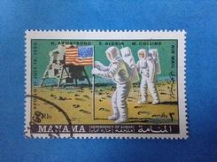 MANAMA FRANCOBOLLO USATO STAMP USED SPAZIO MISSIONE APOLLO 11 - Space