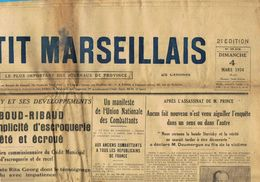** JOURNAL ** LE PETIT MARSEILLAIS ** 2ème ÉDITION DU ** DIMANCHE 04 MARS 1934 ** - Journaux - Quotidiens