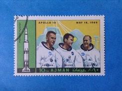 AJMAN FRANCOBOLLO USATO STAMP USED SPAZIO MISSIONE APOLLO 10 - Space