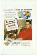 """-  1x Kaart -publiciteit -"""""""" CAMEL  """""""" Met  ROCK   HUDSON. - Cigarettes - Accessoires"""