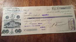MANDAT A ORDRE ILLUSTRE DE  1921  CHOCOLATERIE DE L'HERMITAGE TAIN - Bills Of Exchange