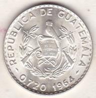 Guatemala . 25 Centavos 1964 . Argent . KM# 263 - Guatemala