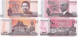Cambodia - 100 + 500 Riels 2014 2015 UNC Lemberg-Zp - Cambodia