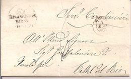 """""""REGGIMENTO CARABINIERI"""",BRIGATA  RION..... LETTERA CON TESTO ,1849,PER GONFALONIERE ,IMOLA-CASTEL DEL RIO, - Italia"""