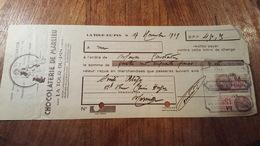 Lettre De Change Illustrée De  1939 Avec Timbres Fiscaux DA CHOCOLATERIE MARLIEU - Cambiali