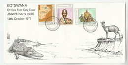 1975 BOTSWANA FDC Stamps MAP, CHIEFS Cover Illus  CROCODILE - Reptiles & Amphibians