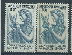 [19] Variété : N° 762 Conférence De La Paix Bleu-vert Au Lieu De Bleu + Normal ** - Variedades: 1945-49 Nuevos