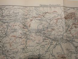 Grödner Dolomiten Val Gardena Waidbruck Pufels St. Christina Arabba Italy Austria Map Mappa Karte 1928 - Carte Geographique