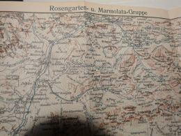 Rosengartengruppe Catinaccio Marmolatagruppe Marmolada Italy Austria Gravour Print 1928 - Carte Geographique