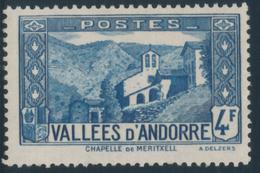 ANDORRA 1937- 43 CHAPPELLE DE MARITXELL 4,00 - Yvert 89**MNH - Andorre Français