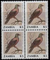 B0775 ZAMBIA 1990, SG 634 K5 Birds (bronze-naped Pigeon) MNH Block Of 4 - Zambia (1965-...)