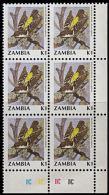 B0774 ZAMBIA 1990, SG 630 K1 Birds (weaver Bird) MNH Control Block Of 6 - Zambia (1965-...)