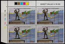 A5903 ZAMBIA 1984, SG 418 20th Anniv Independence, MNH Control Block Of 4 (Top Left Of Sheet) - Zambia (1965-...)