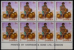 A5901 ZAMBIA 1981, SG 339 5n Definitive, Pottery Making,  MNH Block Of 8 With Imprint - Zambia (1965-...)