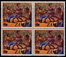 A1225 ZAMBIA 1979, SG 280 10, Surcharge On 3n Definitive (dancing) MNH Block Of 4 - Zambia (1965-...)