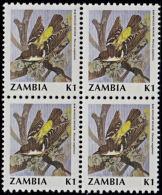 A1221 ZAMBIA 1990, SG 630 K1 Birds (weaver Bird) MNH Block Of 4 - Zambia (1965-...)