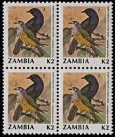 A1220 ZAMBIA 1990, SG 632 K2 Birds (cuckoo Shrike) MNH Block Of 4 - Zambia (1965-...)