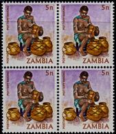A1219 ZAMBIA 1981, SG 339 5n Definitive, Pottery Making,  MNH Block Of 4 - Zambia (1965-...)