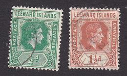 Leeward Islands, Scott #104, 106, Used, George VI, Issued 1938 - Leeward  Islands
