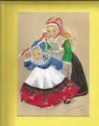Carte Postale Brodée D' Enfants Bretons En Costume Carte Signée Marie-Claude Mouchoux ( F1) - France