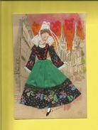 Carte Postale Brodée D' Une Bretonne En Costume à Quimper  Carte Signée Marie-Claude Mouchoux ( F3) - France