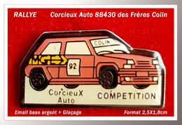 SUPER PIN'S RALLYE : CORCIEUX AUTO Dans Le 88 (Vosges), Garage Des Frère COLIN, émail Base Argent, 2,5X1,8cm - Rallye
