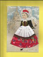 Carte Postale Brodée  D'une Petite Bretonne En Costume Signée Marie-Claude Mouchoux - France