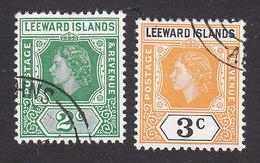 Leeward Islands, Scott #135-136, Used, Queen Elizabeth II, Issued 1954 - Leeward  Islands