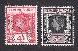 Leeward Islands, Scott #137-138, Used, Queen Elizabeth II, Issued 1954 - Leeward  Islands