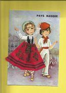 Carte Postale Brodée D' Enfants Du Pays Basque En Costumes - France