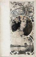 CPA Art Nouveau Femme Girl Woman Non Circulé - Andere Illustrators