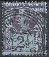 Great Britain - 1887 Q.V. 2½p Violet, Blue , Wmk. Imp. Crown # SG 201 - Michel 89  - Scott 114 - Y.&T. 95 USE - Used Stamps