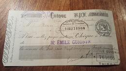CHÈQUE A ORDRE  DE 1919  TAMPON QUITTANCES 20CTS CHÈQUE VIREMENTS - Chèques & Chèques De Voyage