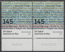"""!a! GERMANY 2017 Mi. 3339 MNH Horiz.PAIR W/ Bottom Margins - German Commission: """"Justitia Et Pax"""" - [7] République Fédérale"""