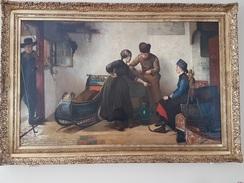 """Christoffel Bisschop  162cm/100 Cm ( Très Grand Tableau)  """"Aiguisage Des Patins """" - Oils"""