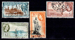 Barbados 1950-1965 Scott #218, 240, 242, 258, Used - Barbados (1966-...)