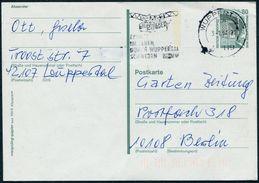Germany 1994 Wuppertal Schwebebahn Elevated Railway Monorail Hochbahn Stationery Card Ganzsache Slogan Pmk Werbestempel - Trains