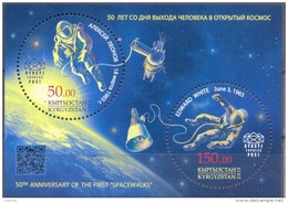 2015. Kyrgyzstan,  50 Anniversary Of The First Space Walks, S/s Perforated,  Mint/** - Kyrgyzstan