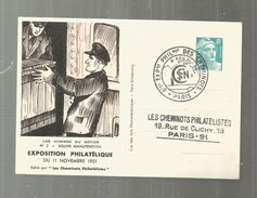 Carte Postale , ENTIER POSTAL , 8 éme Exposition Philatélique Des Cheminots  , 8 F , Train , 11 Nov. 1951, SNCF - Entiers Postaux