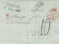 1840- Lettre De GENEVE / 7  Fev: 1840  + L G  + Taxe 10 D Tampon +2  + Entrée SUISSE 1 FERNEY 1 Rouge - ...-1845 Voorlopers